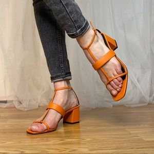Strappy Block Heel Square Toe Sandals